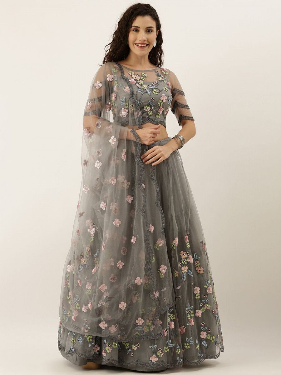 Grey & Pink Embroidered Semi-Stitched Myntra Lehenga & Unstitched Blouse with Dupatta