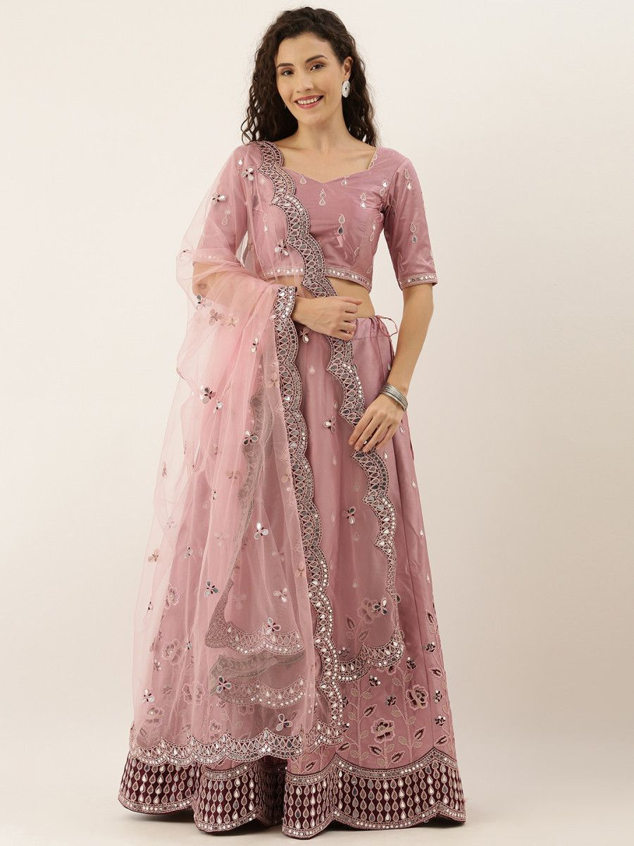 Rose Gold Embroidered Semi-Stitched Myntra Lehenga & Unstitched Choli with Dupatta