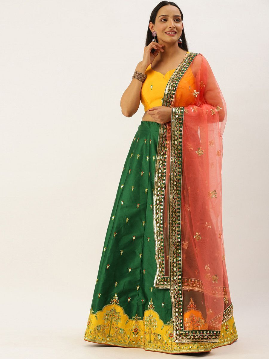 Green & Mustard Embellished Semi-Stitched Myntra Lehenga & Unstitched Blouse with Dupatta