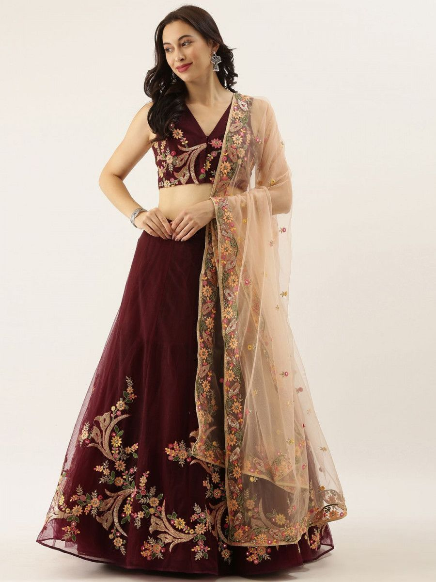 Burgundy & Cream-Coloured Embroidered Semi-Stitched Myntra Lehenga & Unstitched Blouse with Dupatta