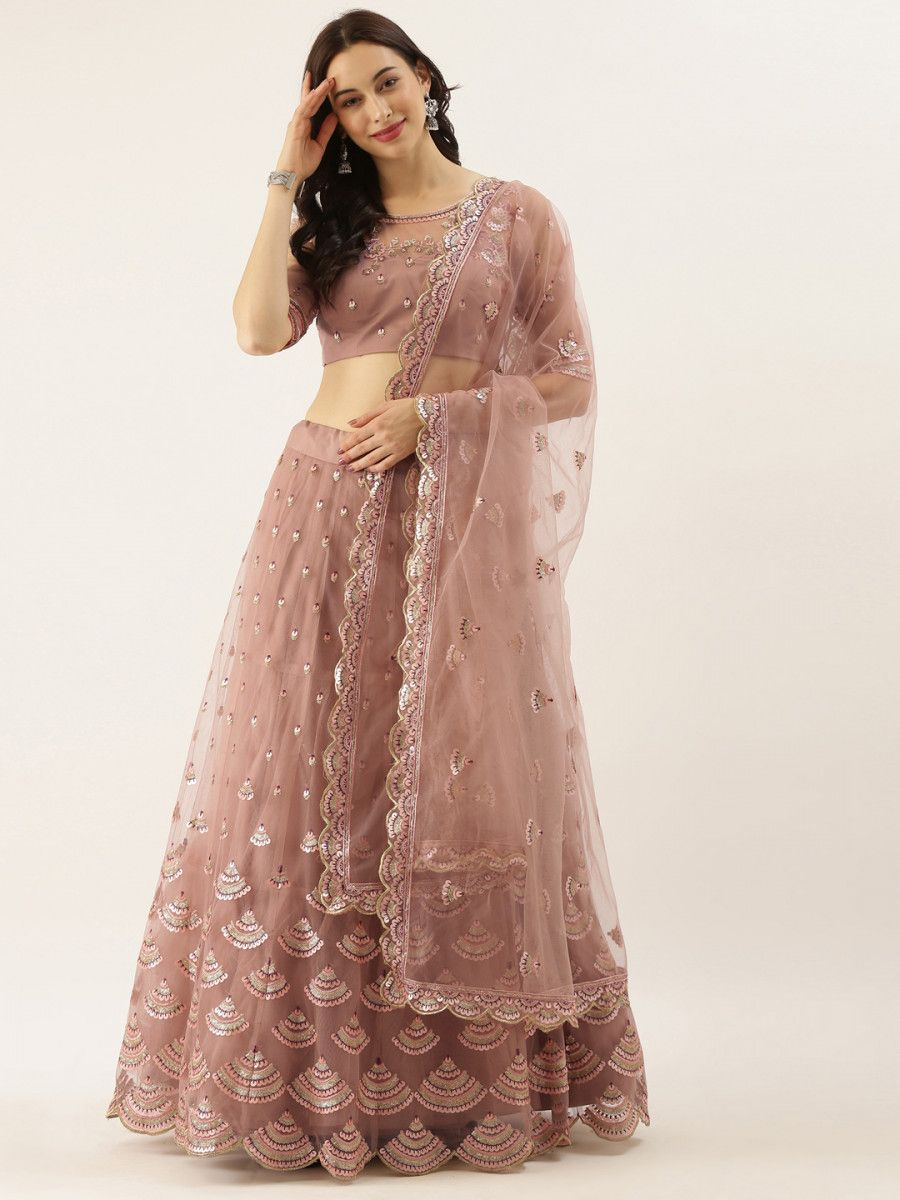 Rose Gold Embroidered Semi-Stitched Myntra Lehenga & Unstitched Blouse with Dupatta