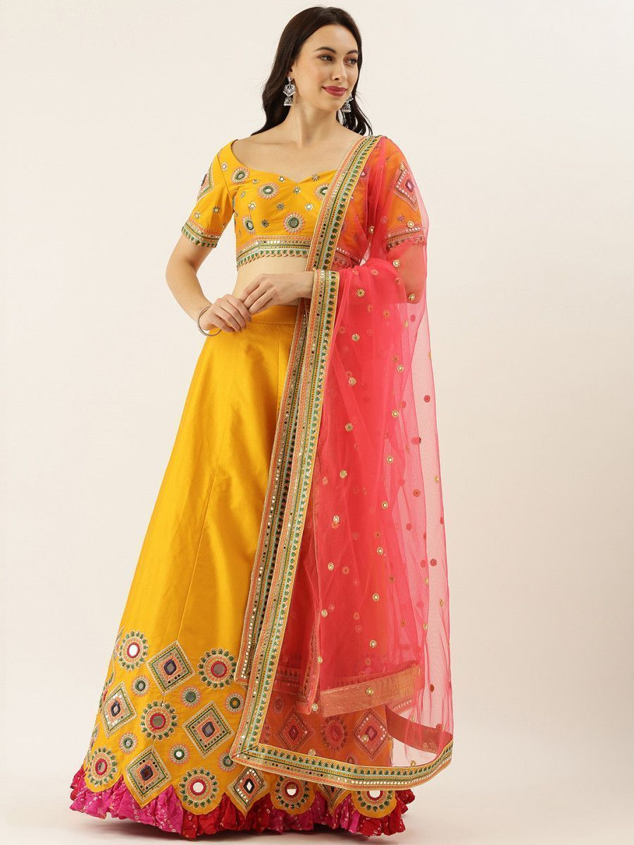 Mustard & Pink Embroidered Semi-Stitched Myntra Lehenga & Unstitched Blouse with Dupatta