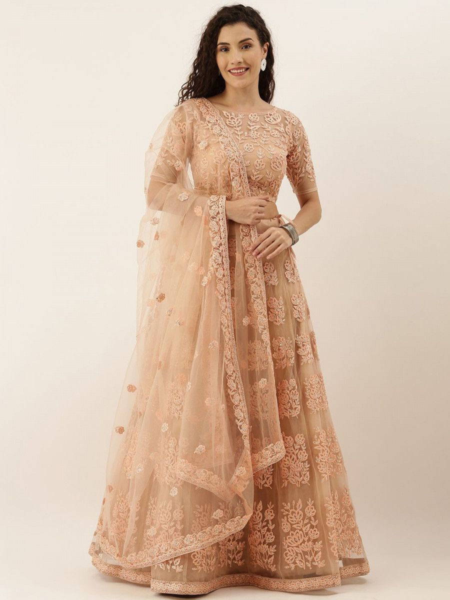 Peach-Coloured Embroidered Semi-Stitched Myntra Lehenga & Unstitched Blouse with Dupatta