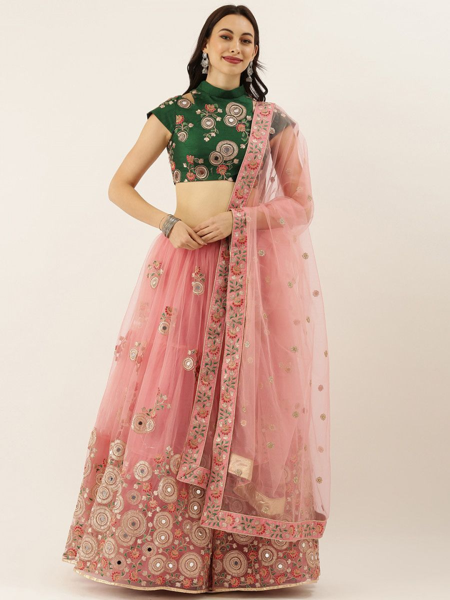 Pink & Green Embroidered Semi-Stitched Lehenga & Unstitched Blouse with Dupatta