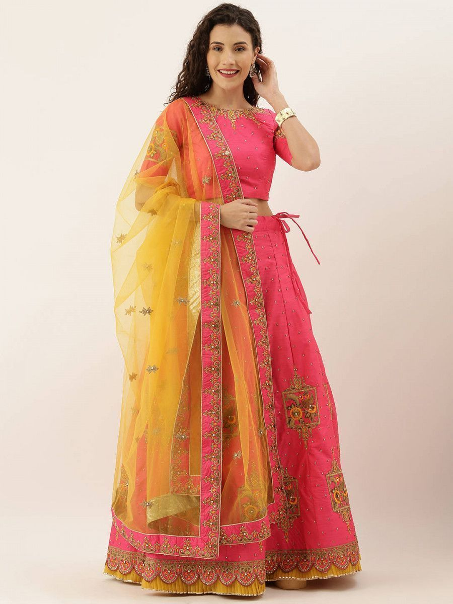 Pink & Mustard Embroidered Semi-Stitched Myntra Lehenga & Unstitched Blouse with Dupatta