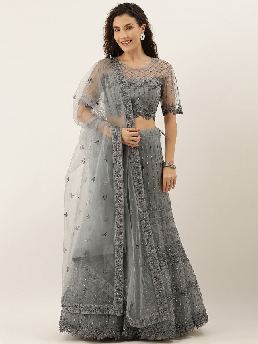 Grey Embroidered Semi-Stitched Myntra Lehenga & Unstitched Blouse with Dupatta