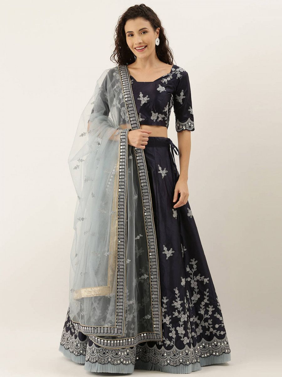 Navy Blue & Silver-Toned Embroidered Semi-Stitched Myntra Lehenga & Unstitched Blouse with Dupatta