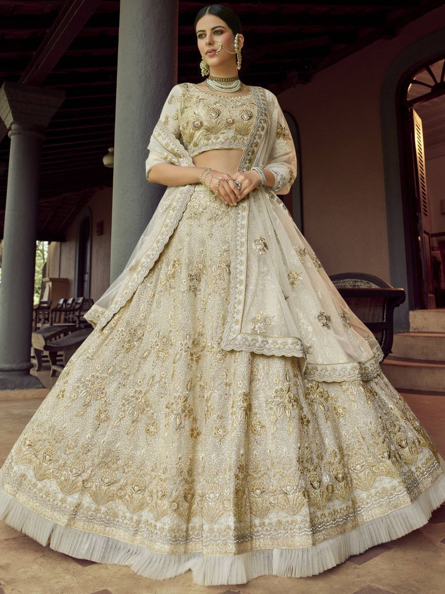Beige Diamond Embroidered Georgette Bridal Lehenga Choli