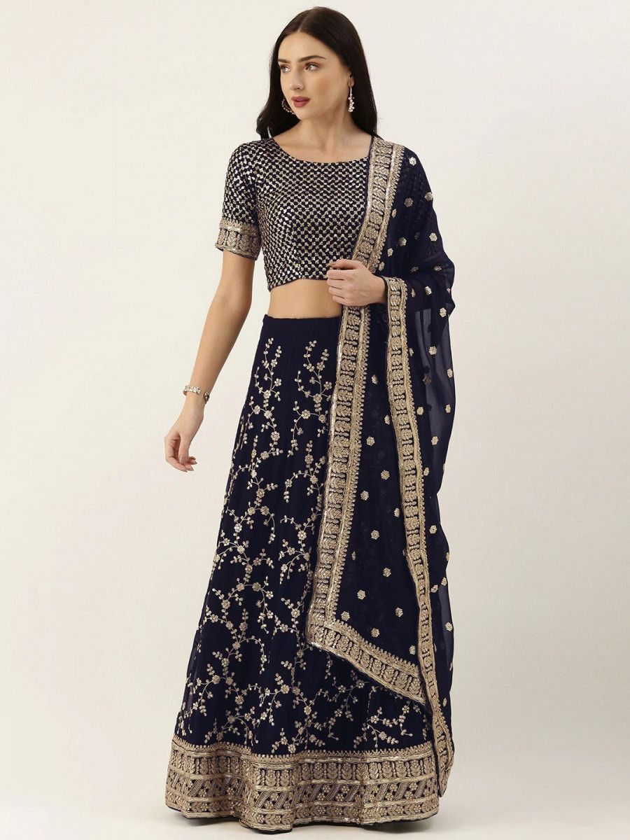 Navy Blue & Gold-Toned Embroidered Semi-Stitched Myntra Lehenga & Unstitched Blouse with Dupatta