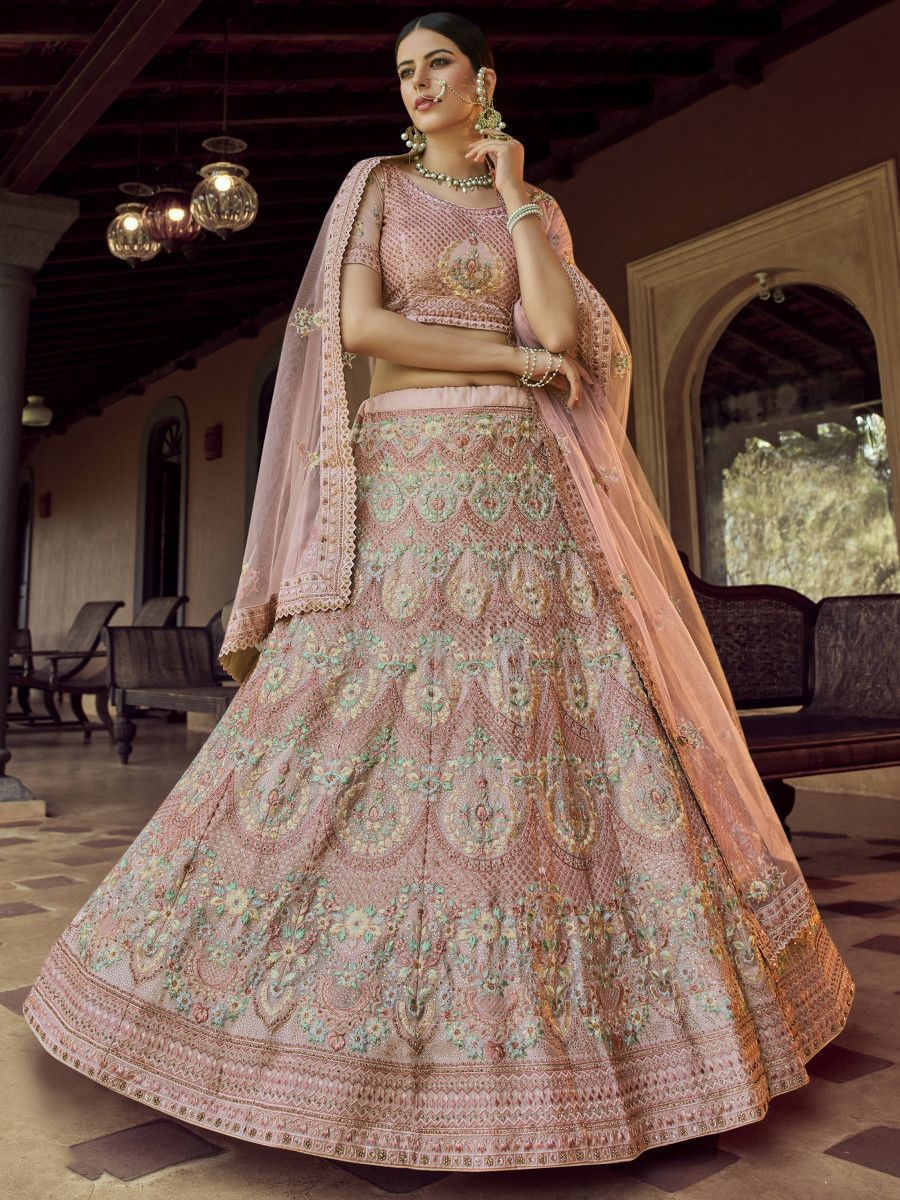 Peach Resham Embroidered Georgette Bridal Lehenga Choli