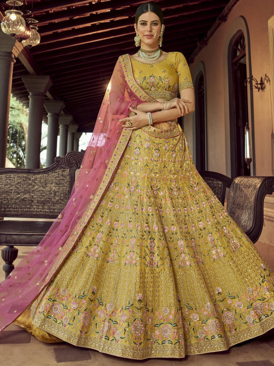 Mustard Yellow Resham Embroidered Organza Bridal Lehenga Choli
