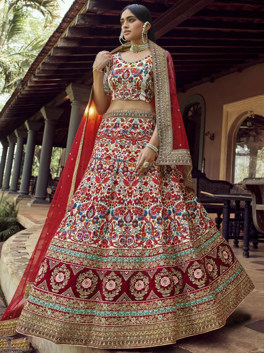Off White Multi Thread Floral Art Silk Bridal Lehenga Choli