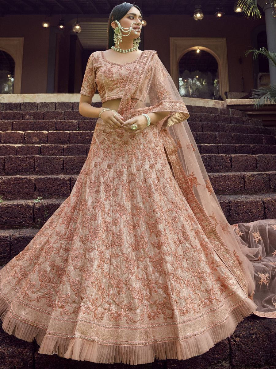 Peach Floral Sequins Georgette Bridal Lehenga Choli