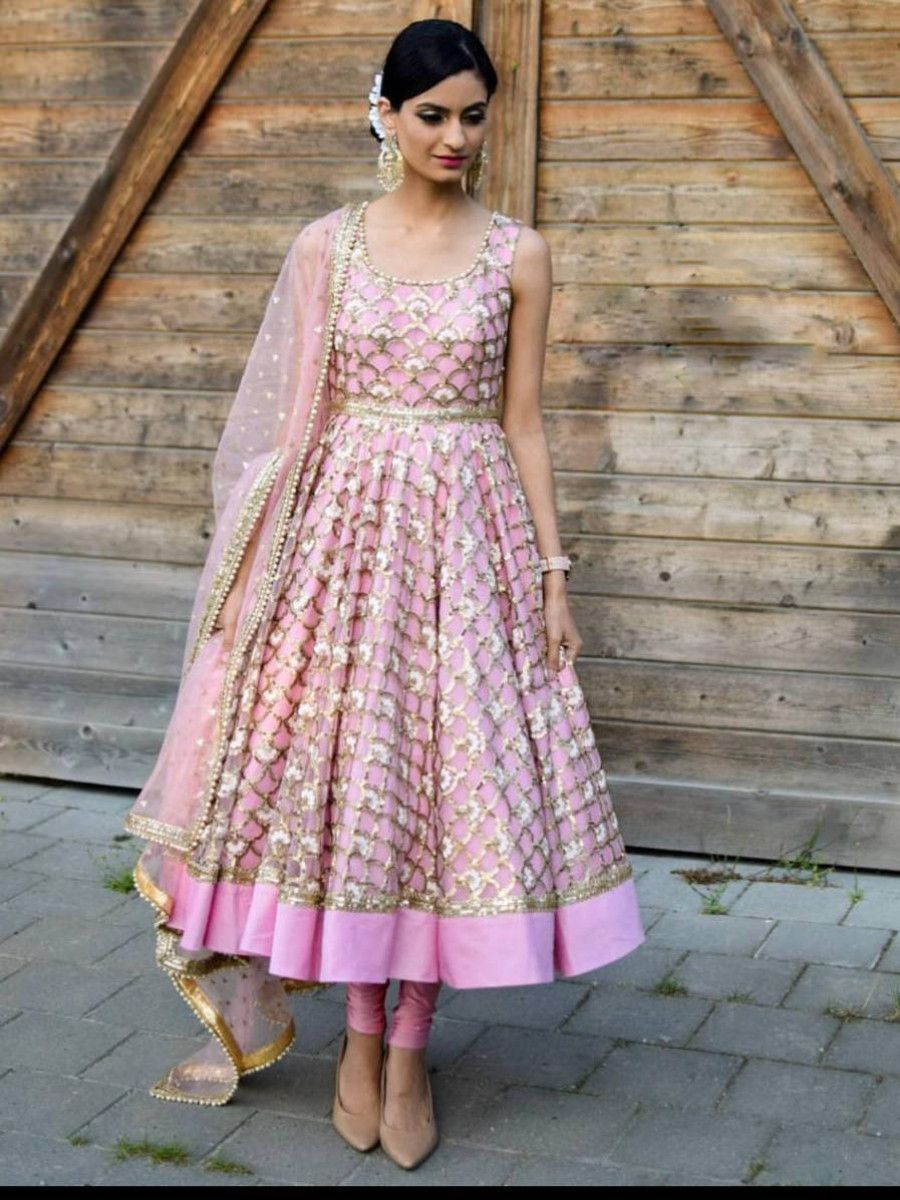 Pink Sequence Net Party Wear Anarkali Salwar Suit