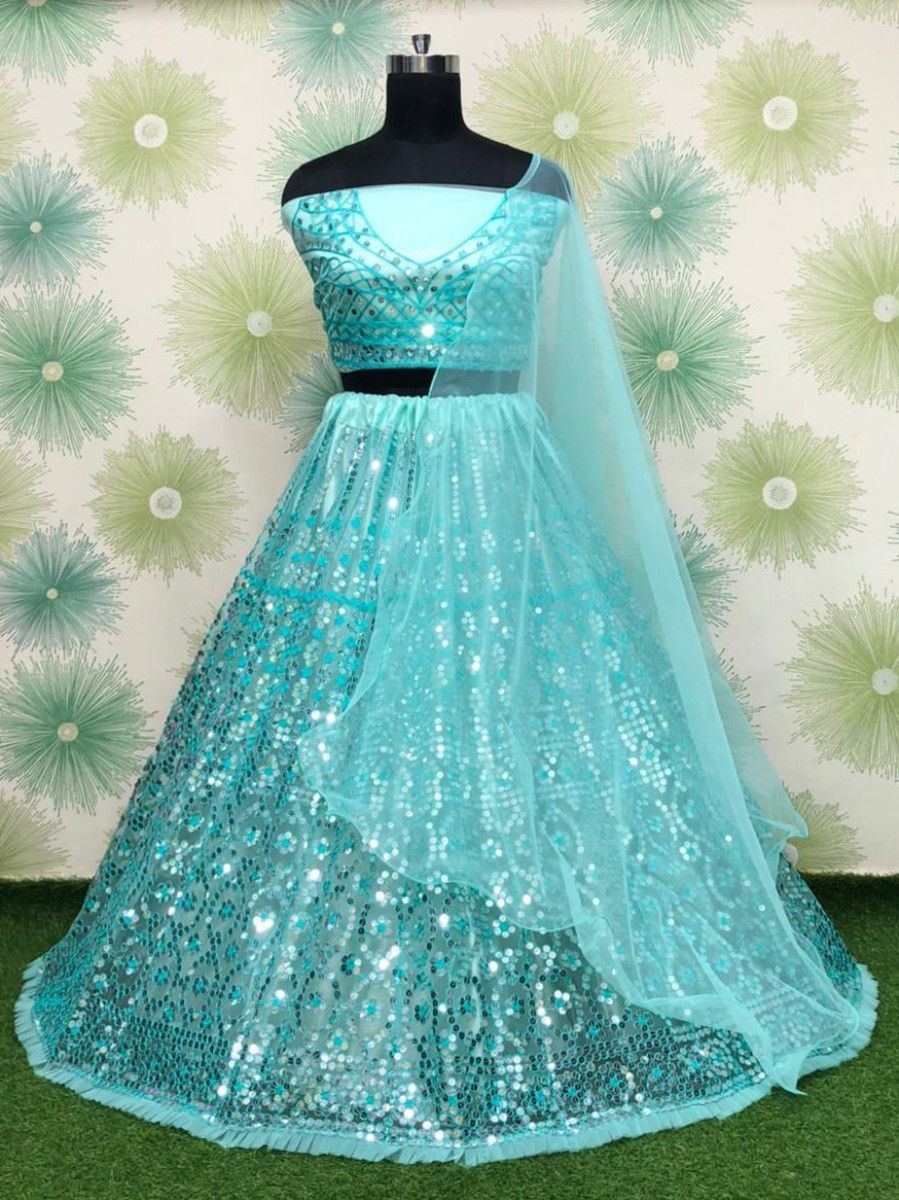 Sky Blue Sequins Net Party Wear Lehenga Choli
