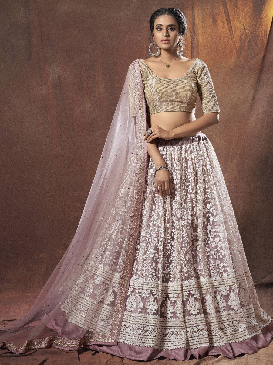 Lilac Thread Embroidered Net Wedding Wear Lehenga Choli