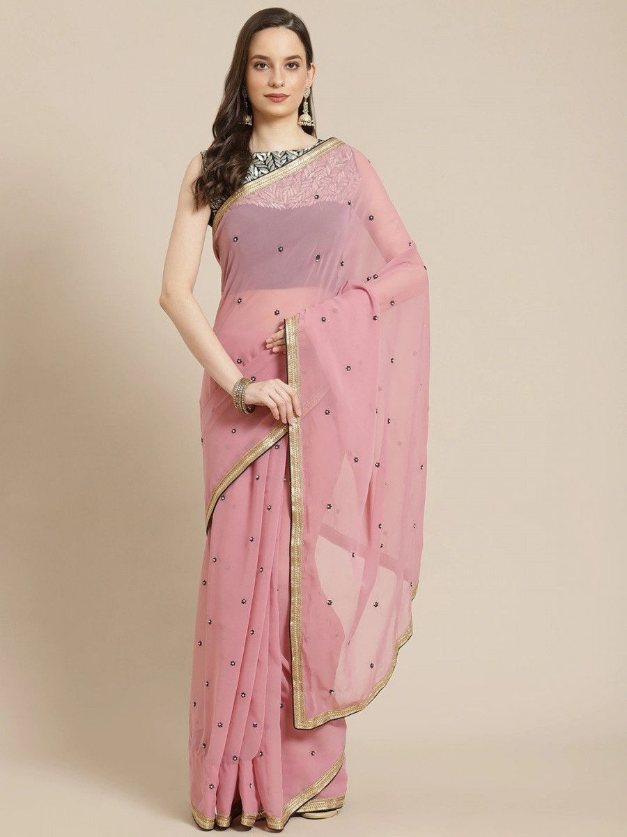 Pink & Blue Embroidered Poly Georgette Myntra Saree