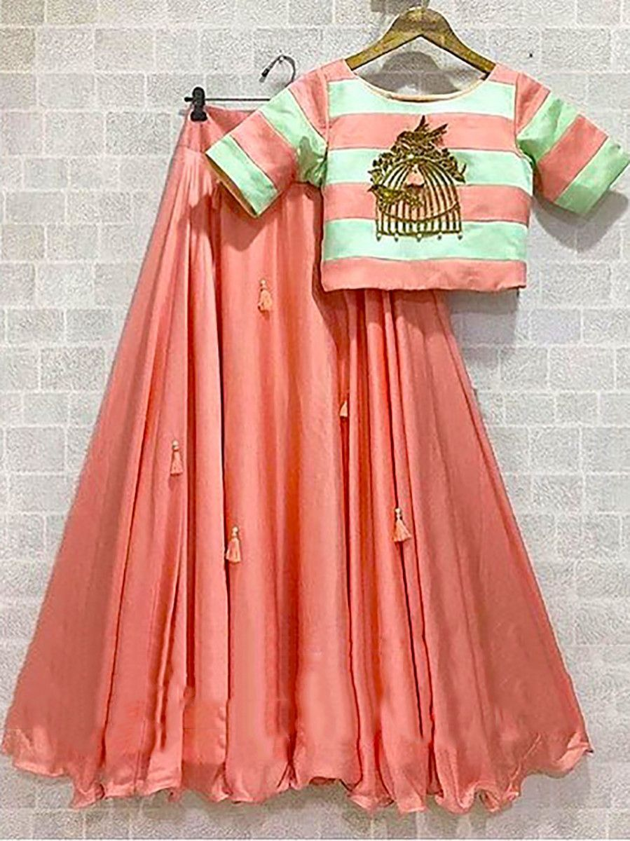 Peach Tassel Work Satin Silk Party Wear Lehenga Choli With Dupatta