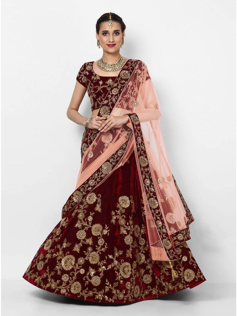 Maroon Embroidered Velvet Bridal Lehenga Choli With Light Peach Dupatta