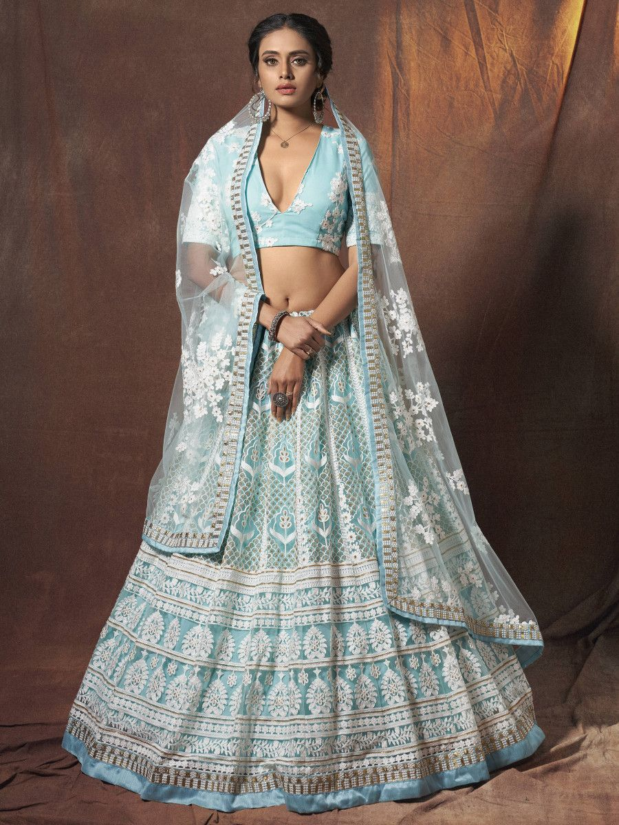 Sky Blue Resham Embroidered Net Wedding Wear Lehenga Choli