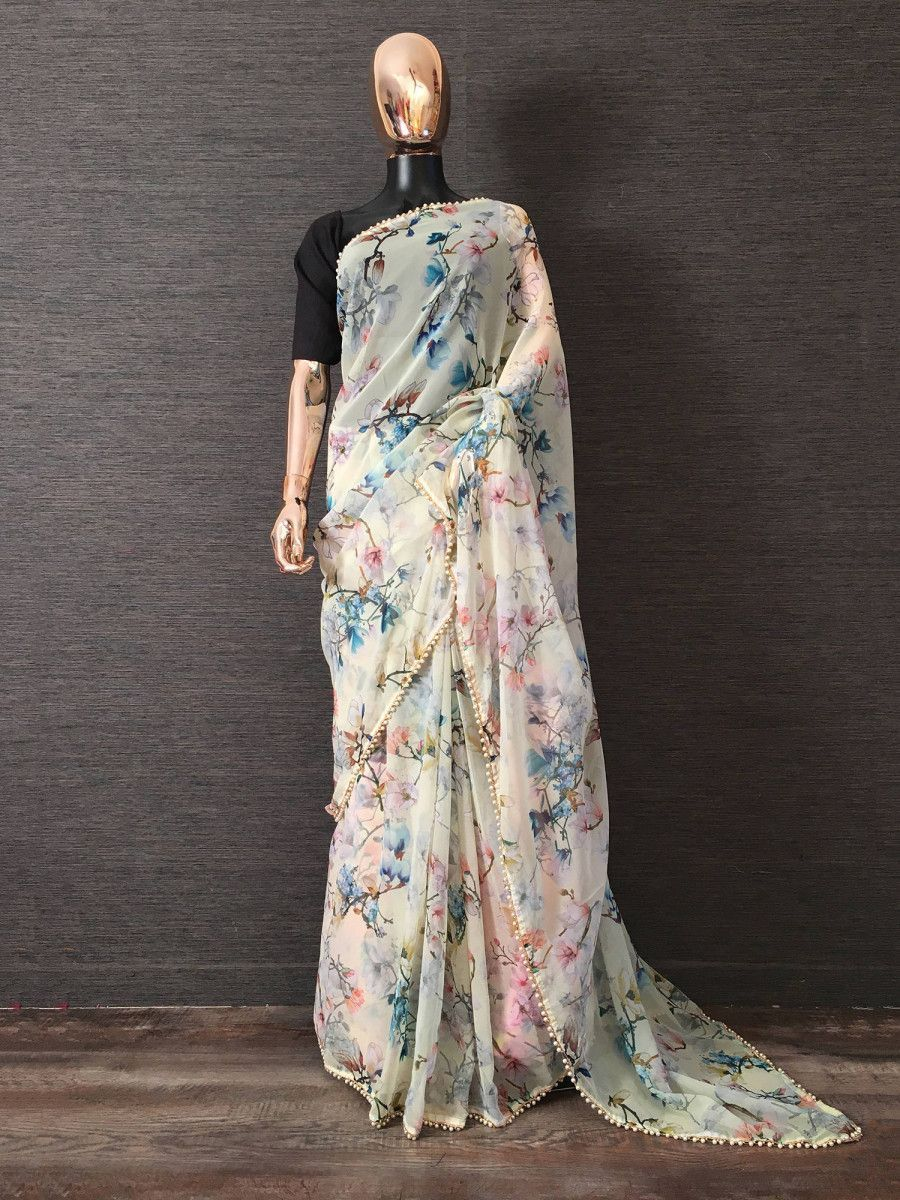 Off White Digital Printed Party Wear Saree With Blouse