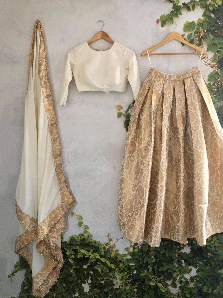 Cream Zari Weaving Festival Wear Readymade Banarasi Lehenga Choli