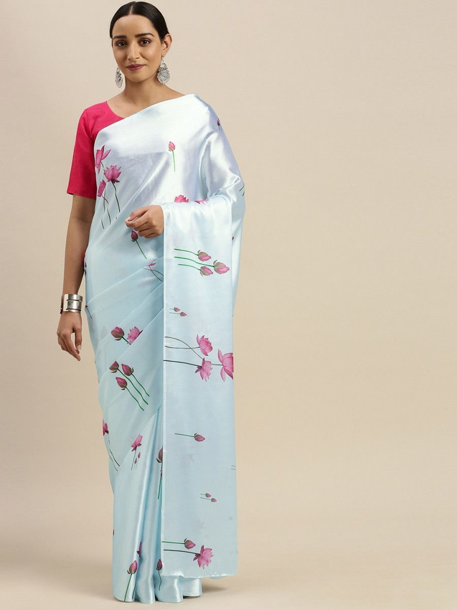 Blue & Pink Satin Digital Printed Myntra Saree