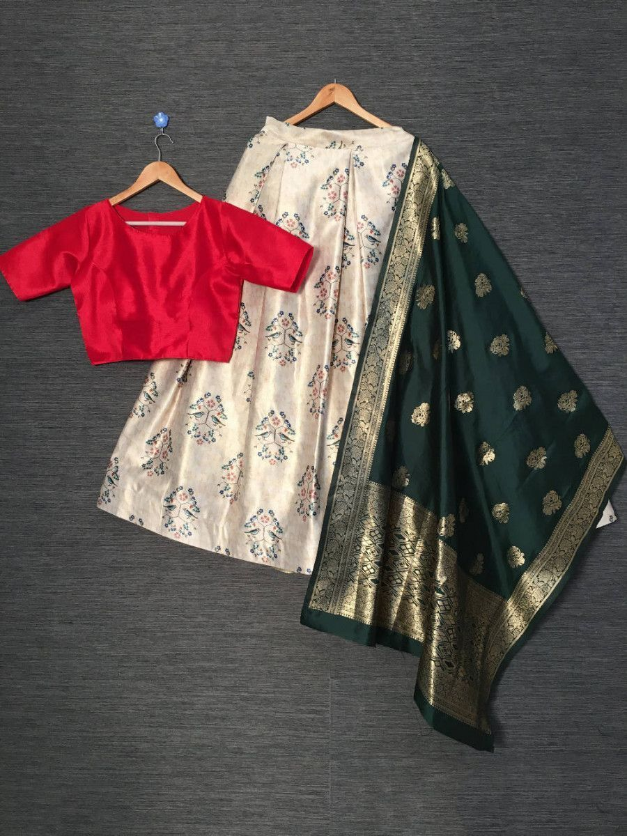 Beige Red Printed Satin Festive Lehenga Choli With Banarasi Dupatta