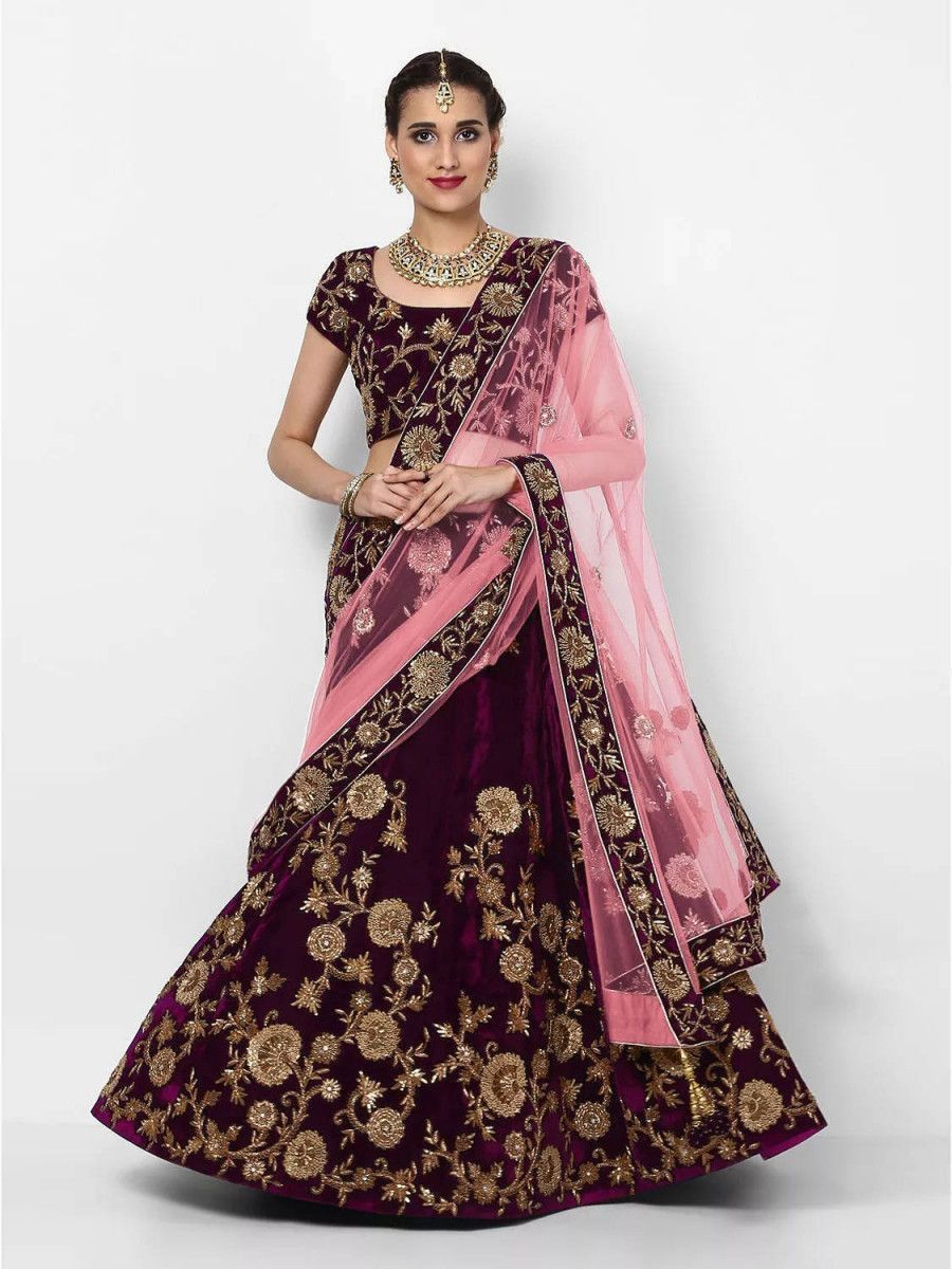 Purple Embroidered Velvet Bridal Lehenga Choli With Baby Pink Dupatta