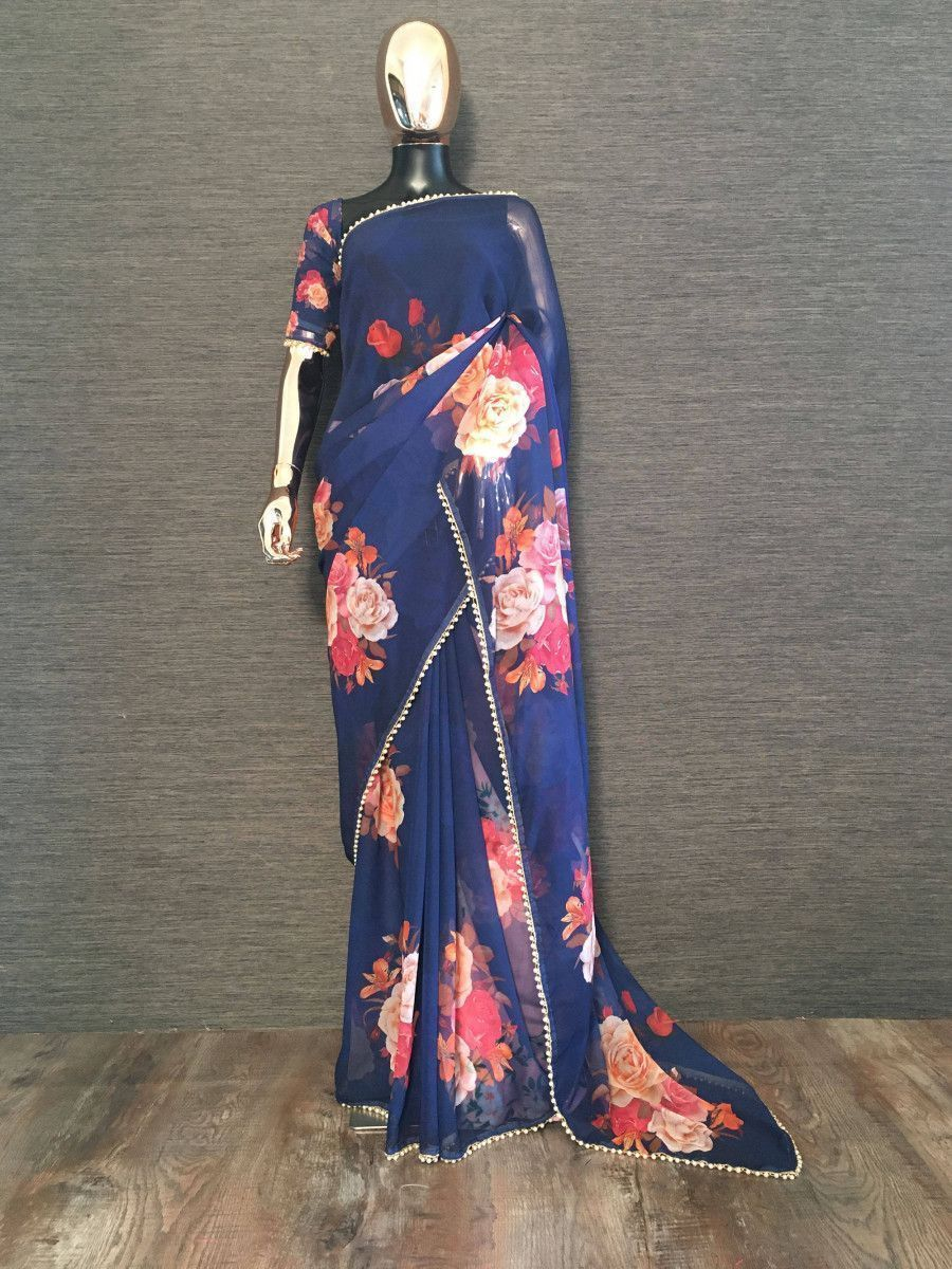 Blue Rose Floral Printed Georgette Festive Saree With Blouse