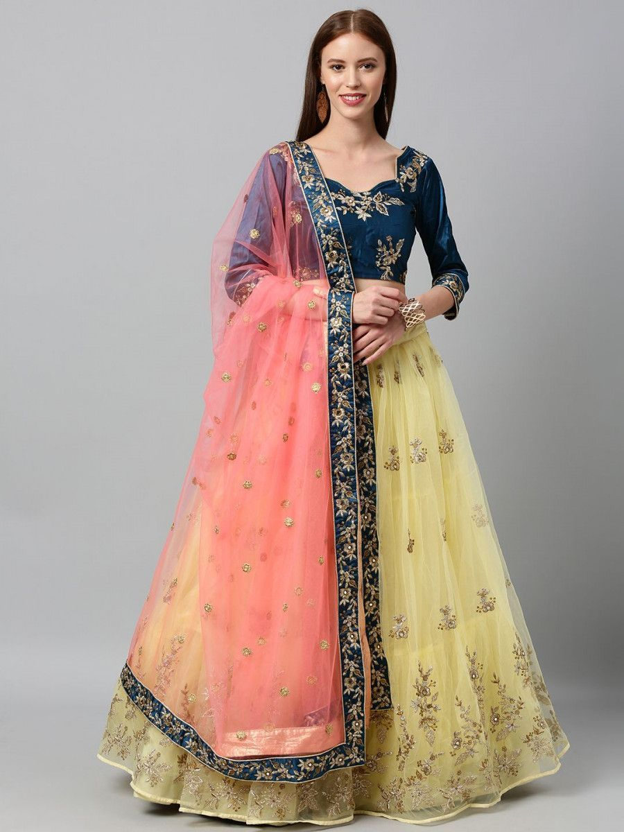 Yellow & Navy Blue Embroidered Semi-Stitched Myntra Lehenga & Unstitched Blouse with Dupatta