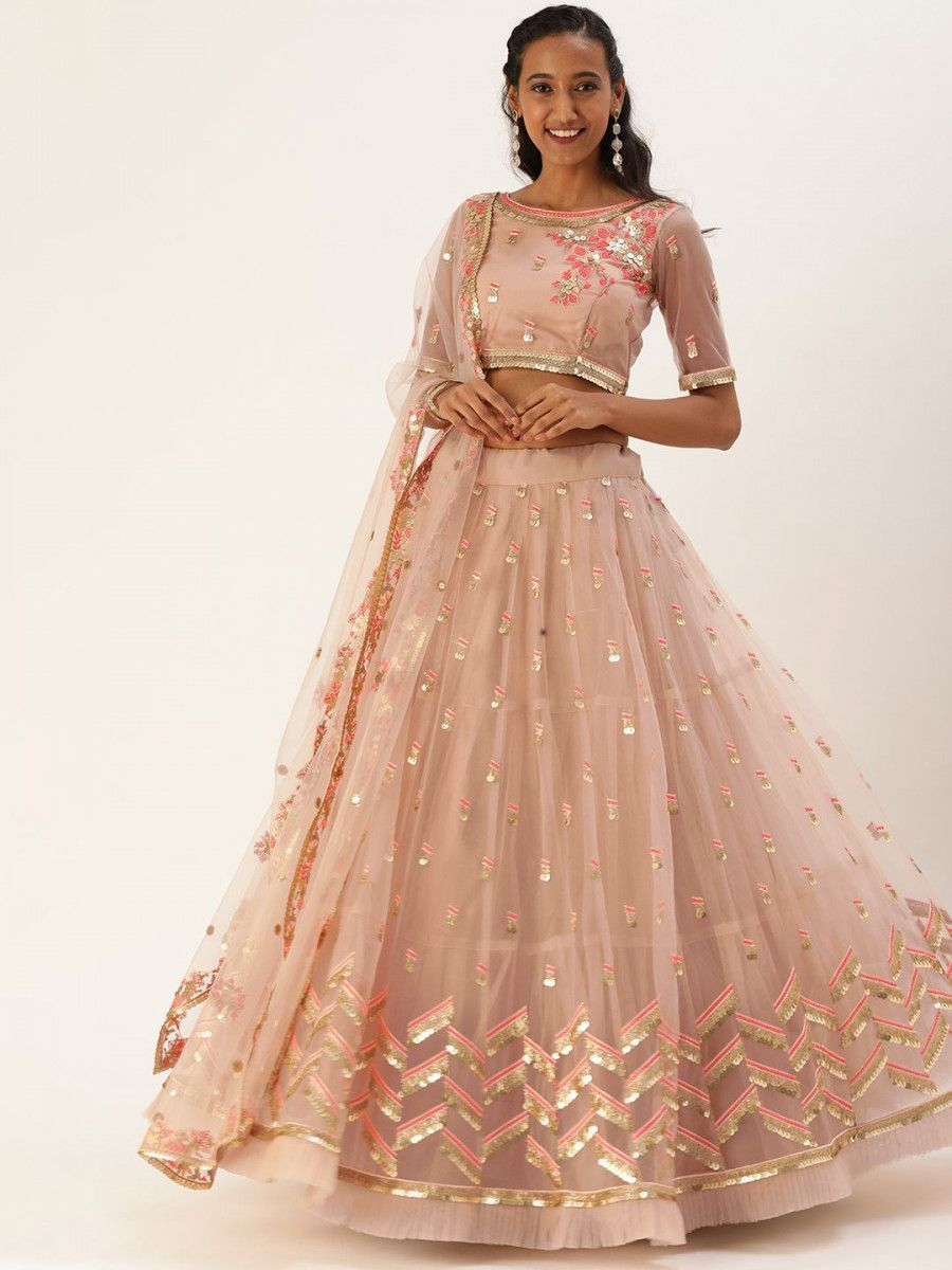 Peach-Coloured & Pink Semi-Stitched Myntra Lehenga & Unstitched Blouse with Dupatta