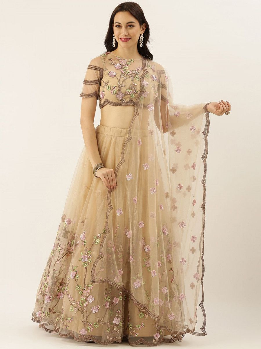 Beige Embroidered Semi-Stitched Myntra Lehenga & Unstitched Blouse with Dupatta