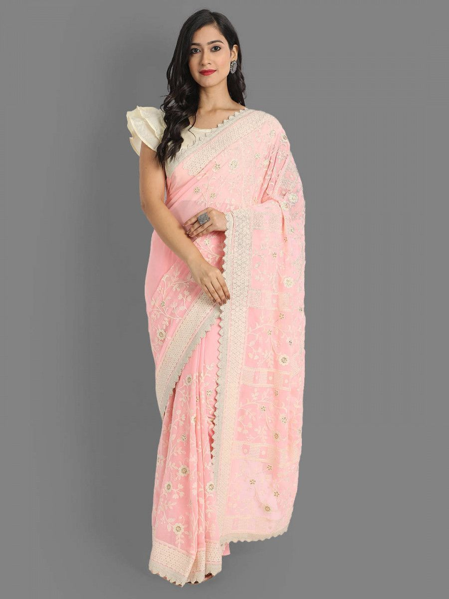 Pink Lakhnavi Georgette Party Wear Saree With Blouse