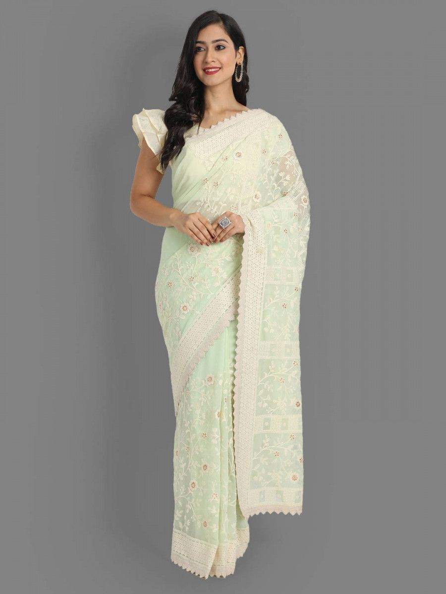 Light Green Lakhnavi Georgette Party Wear Saree With Blouse