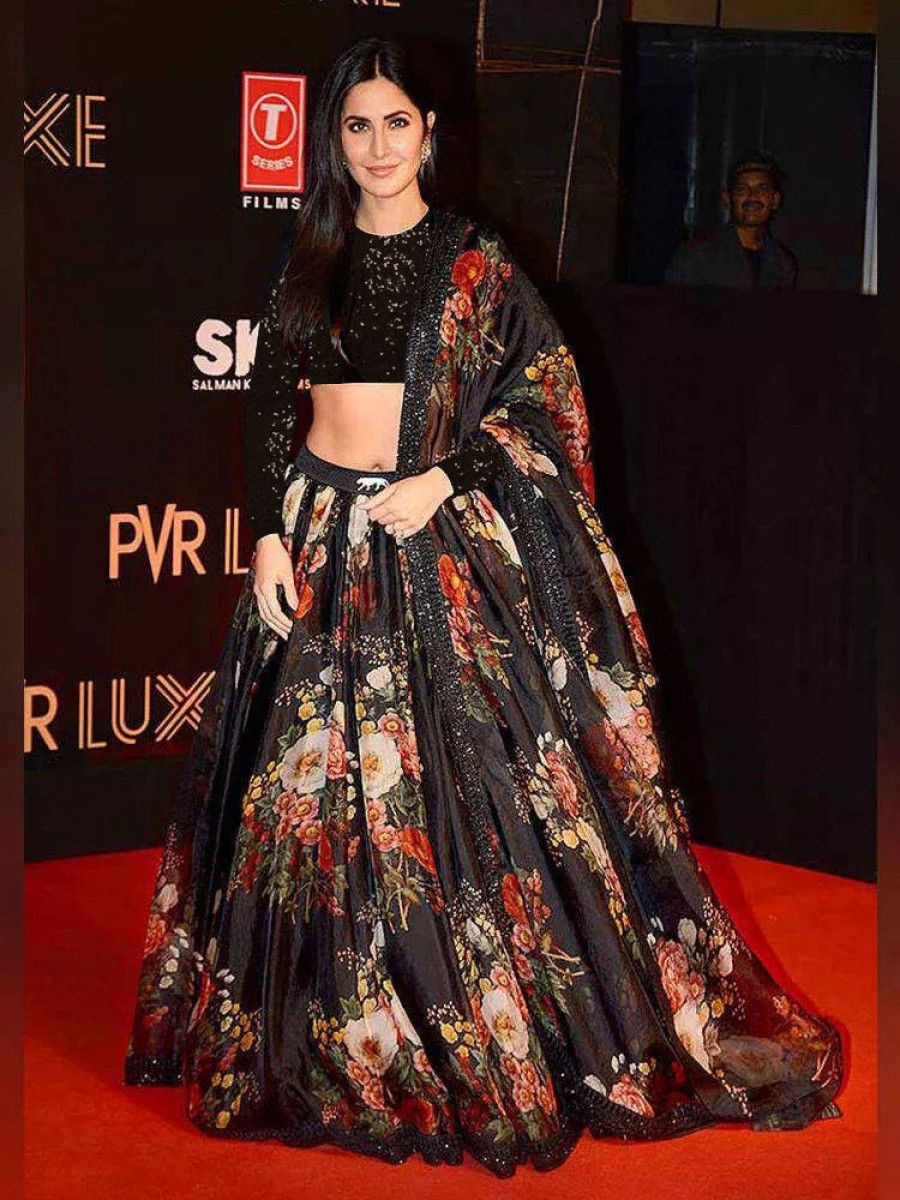 Sabyasachi Black Floral Organza Party Wear Lehenga With Sequins Choli