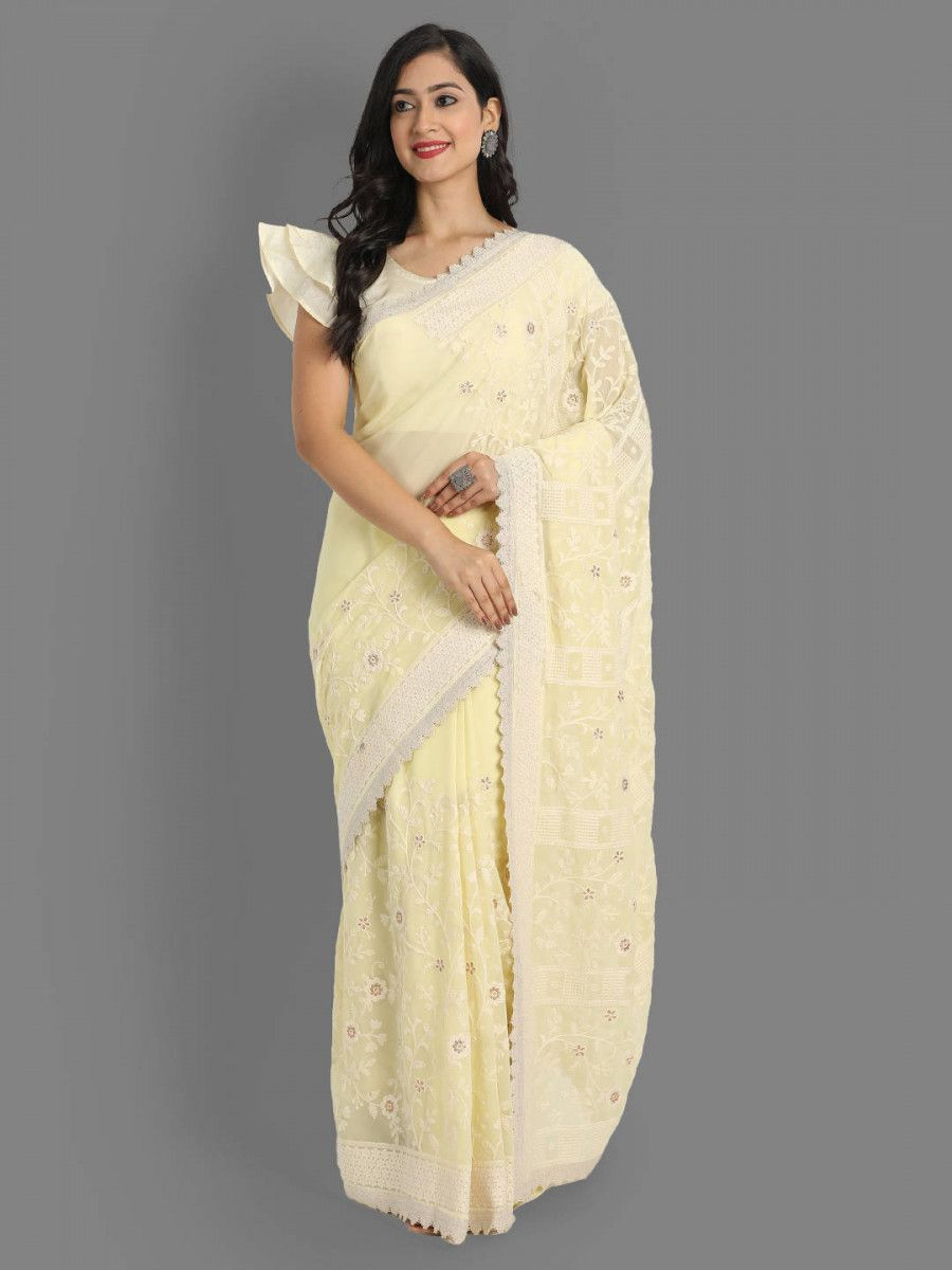 Lime Yellow Lakhnavi Georgette Party Wear Saree With Blouse