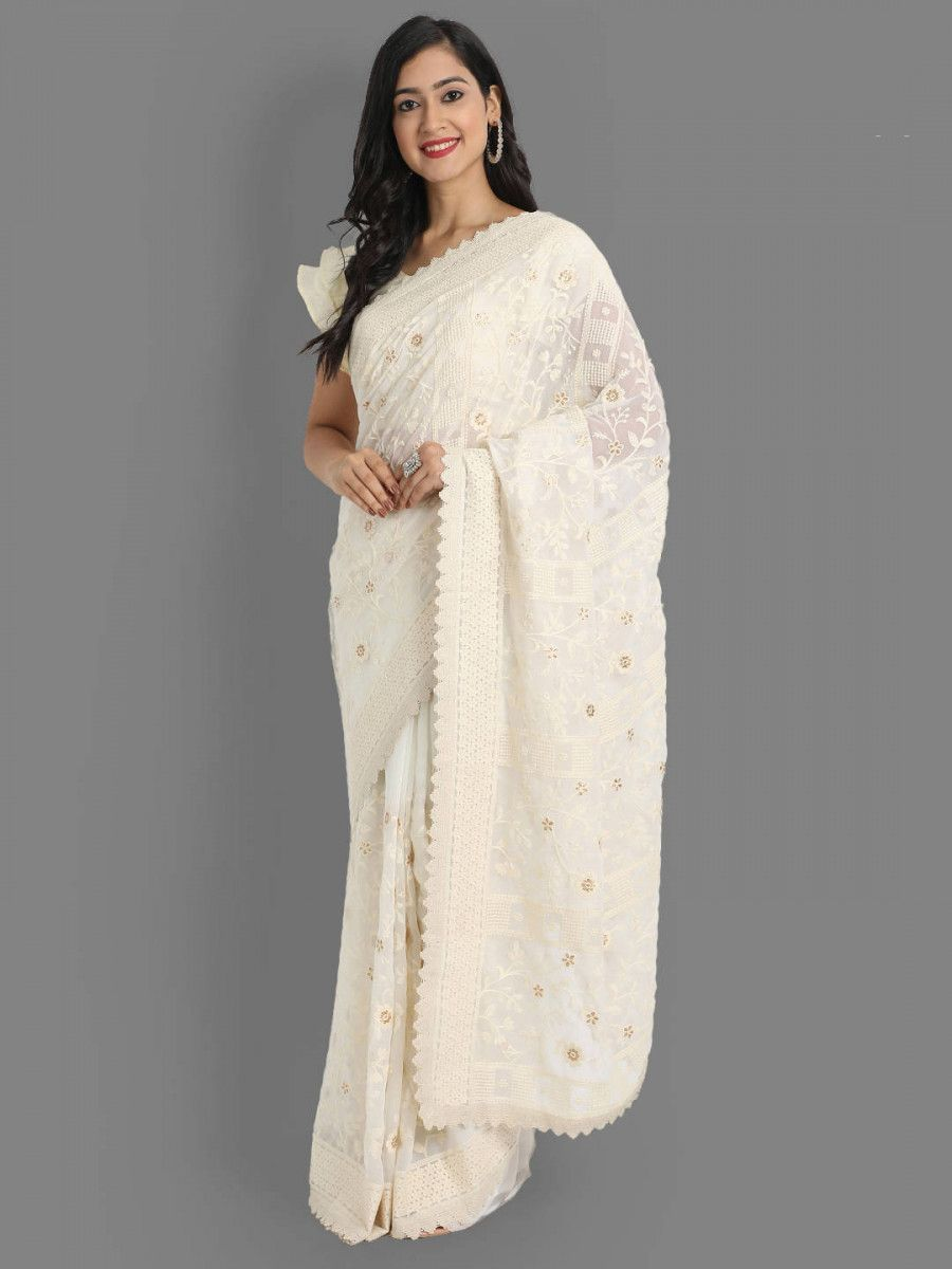 Off White Lakhnavi Georgette Party Wear Saree With Blouse