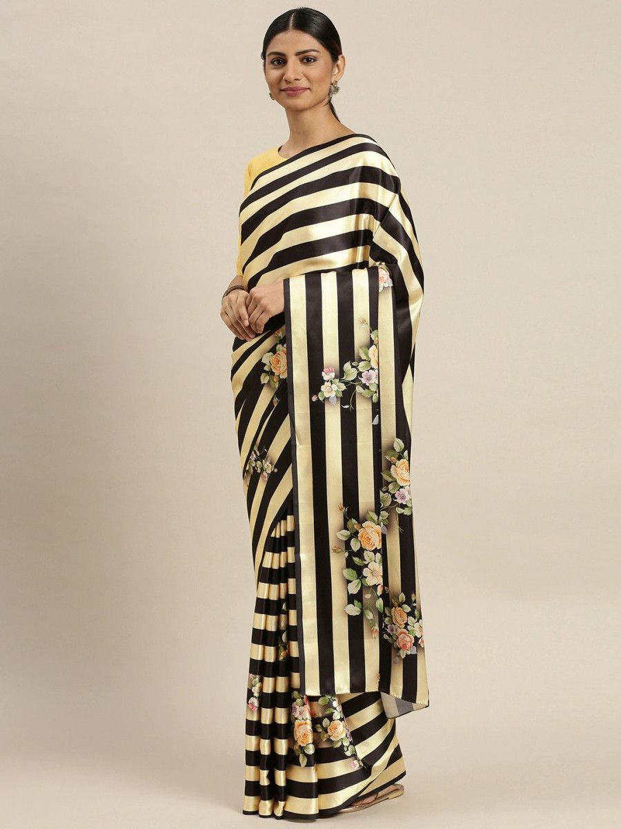 Black & Yellow Satin Striped Digital Print Myntra Saree