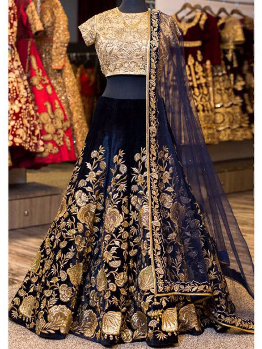 Navy Blue Sequins Embroidered Velvet Bridal Lehenga Choli