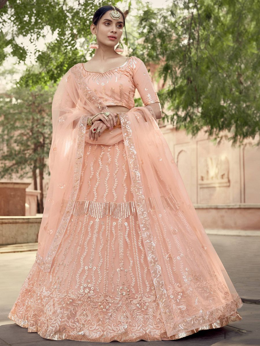 Peach Sequins Soft Net Wedding Wear Lehenga Choli
