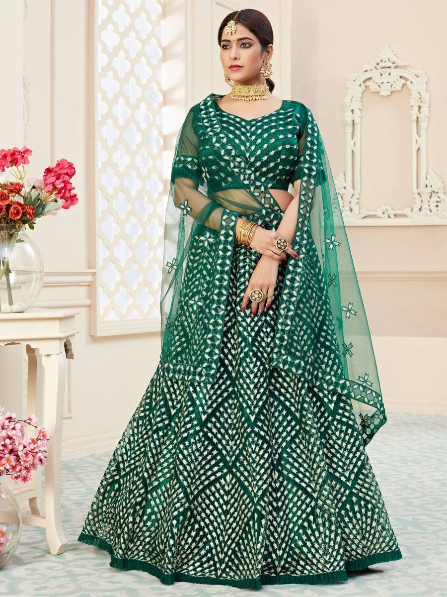 Green Thread Embroidered Heavy Net Bridal Lehenga Choli
