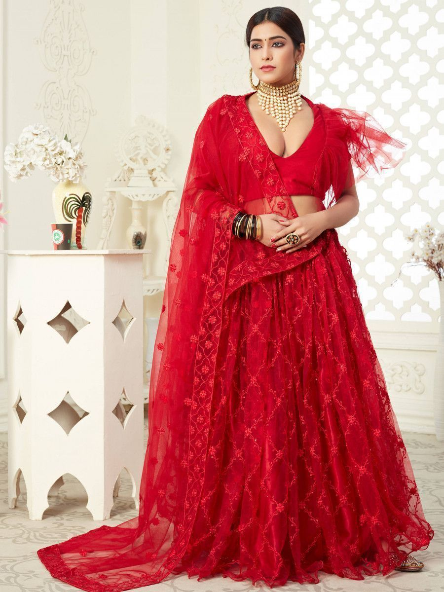 Red Thread Embroidered Heavy Net Wedding Wear Lehenga Choli