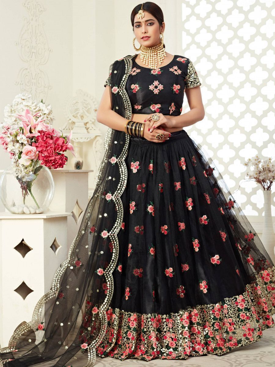 Black Floral Embroidered Heavy Net Wedding Wear Lehenga Choli