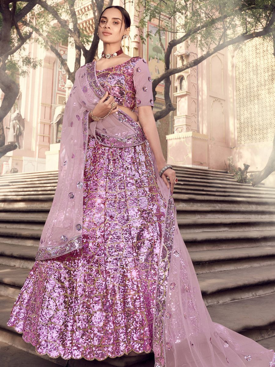 Lilac Sequins Soft Net Wedding Wear Lehenga Choli