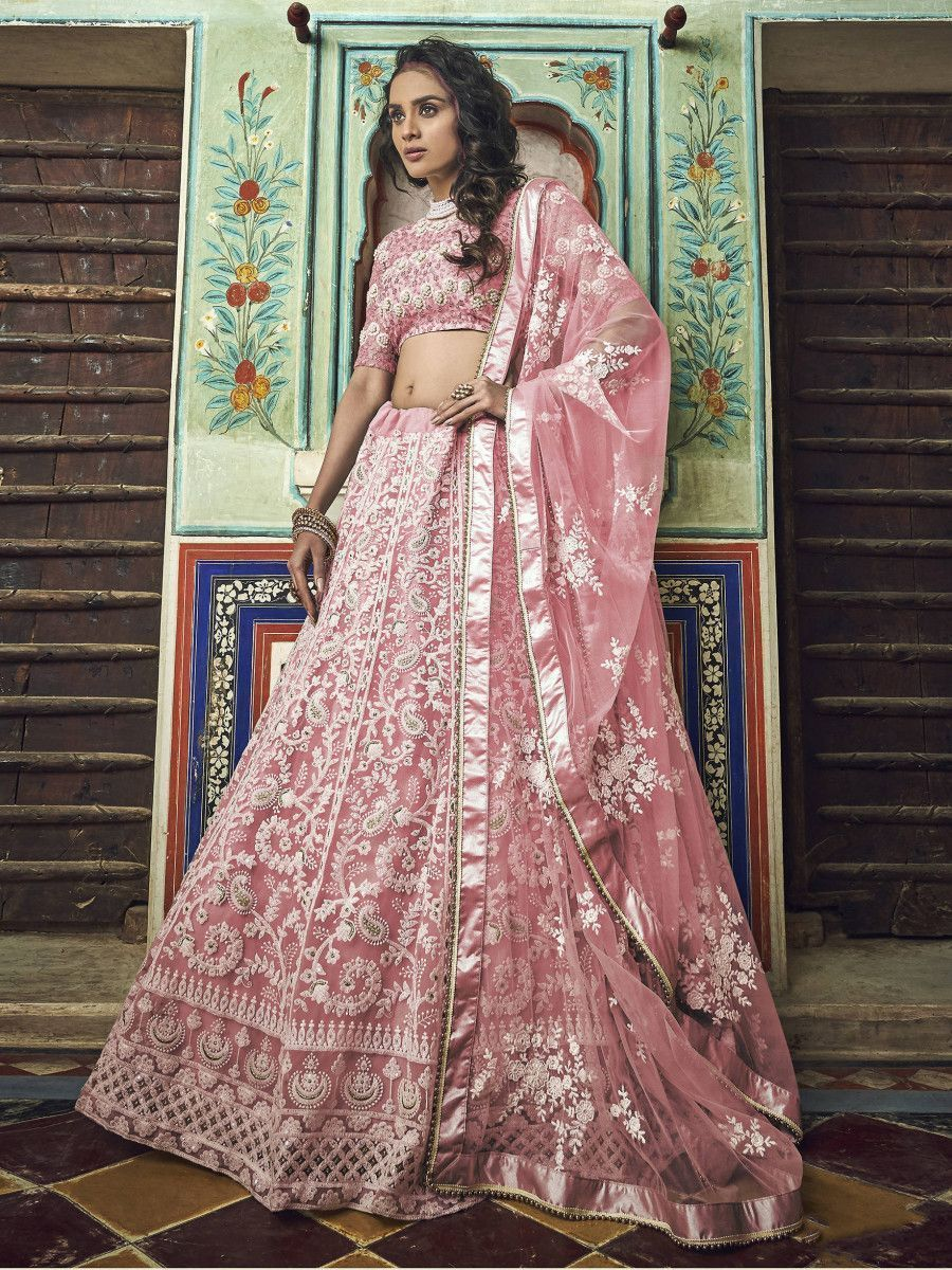 Pink Thread Embroidered Net Party Wear Lehenga Choli