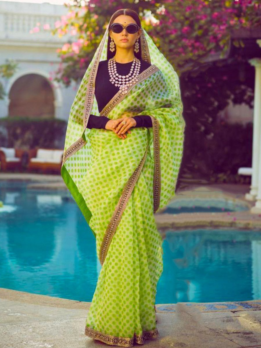 Sabyasachi Green Bordered Organza Wedding Wear Saree With Blouse