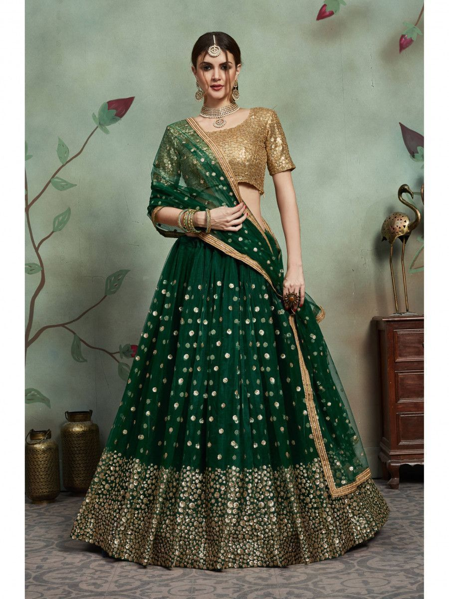 Dark Green Sequins Work Net Party Wear Lehenga Choli with Dupatta
