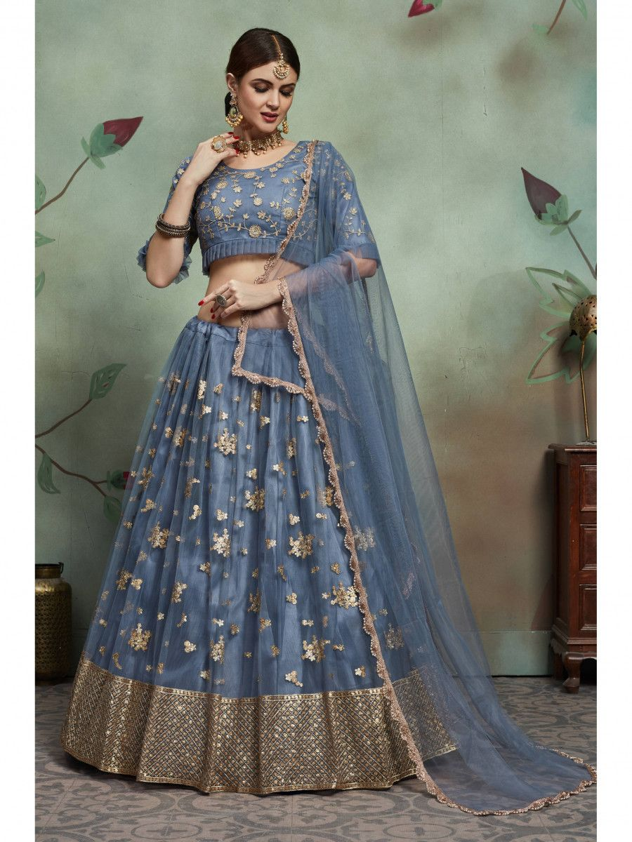 Weldon Blue Sequins Net Bridal Lehenga Choli
