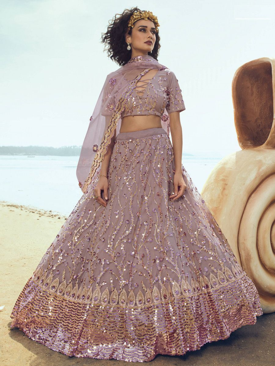 Lilac Thread Sequins Work Party Wear Lehenga Choli
